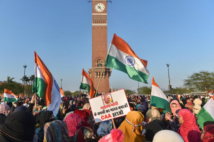 Protestors stage a demonstration against CAA and NRC near Ghantaghar in old city area of Lucknow. PTI
