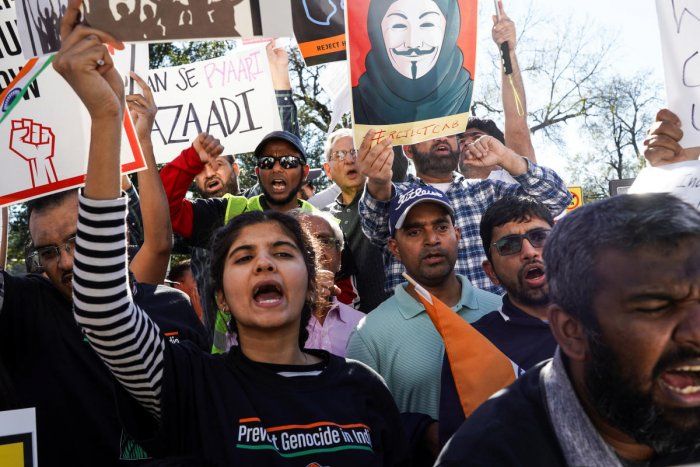 Protesters rally against India's new citizenship law during a demonstration in Houston. (Reuters photo)