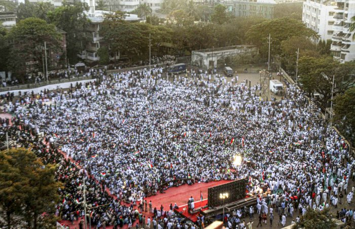 """""""We are determined to continue with the protest until the Modi government withdraws the draconian and unconstitutional CAA, NCR and NPR,"""" he said. (Credit: PTI Photo)"""