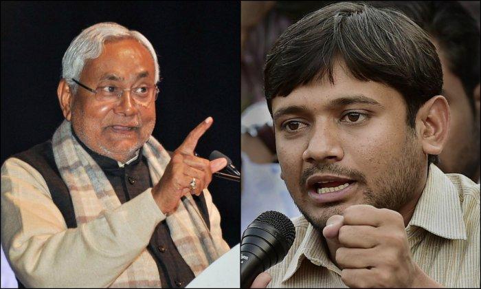 Bihar Chief Minister Nitish Kumar (L) and CPI leader Kanhaiya Kumar (R)