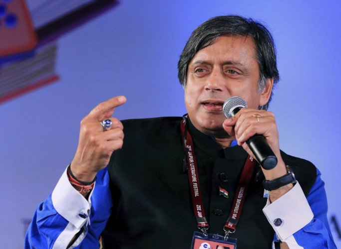 Congress leader Shashi Tharoor during a session at the Jaipur Literature Festival 2019. (PTI Photo)