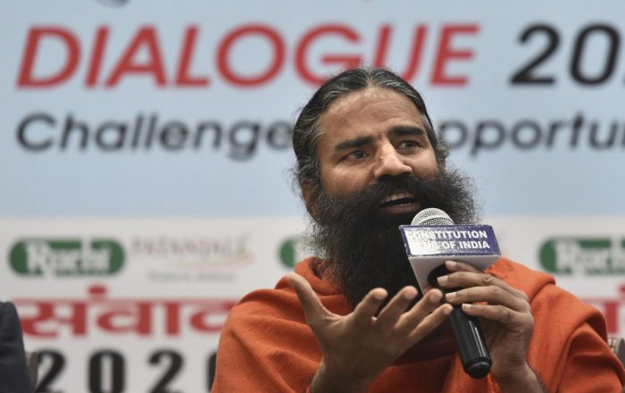 Yoga Guru Baba Ramdev addresses a press conference at Constitutional Club, in New Delhi, Friday, Jan. 24, 2020. (Credit: PTI Photo)