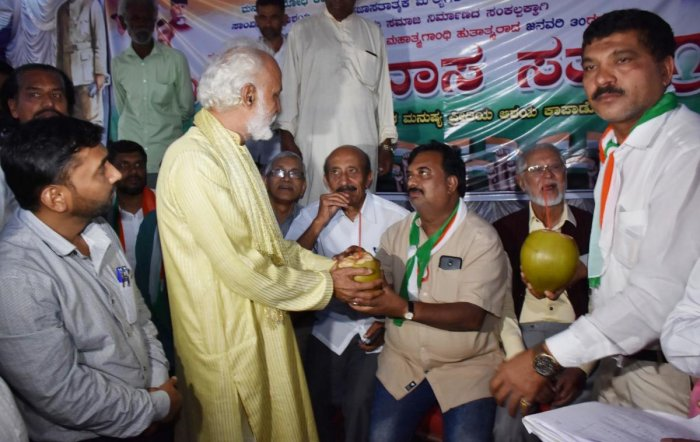The leaders of Pragatipara Janandolana Vedike concluded their five-day long hunger strike staged in Madikeri against Citizenship (Amendment) Act, on Thursday evening. Priest Narasimha Rao Desai gave tender coconuts to the leaders. DHPhoto