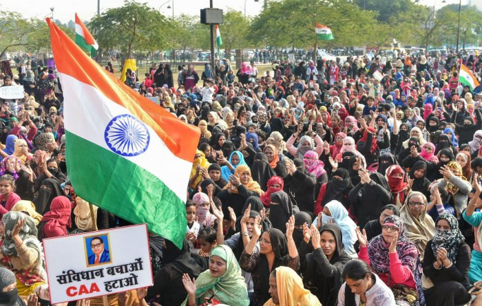 Muslim women stage a protest against CAA and NRC near the Ghantaghar in the old city area of Lukcnow, Saturday, Jan. 25, 2020. Credit: PTI Photo