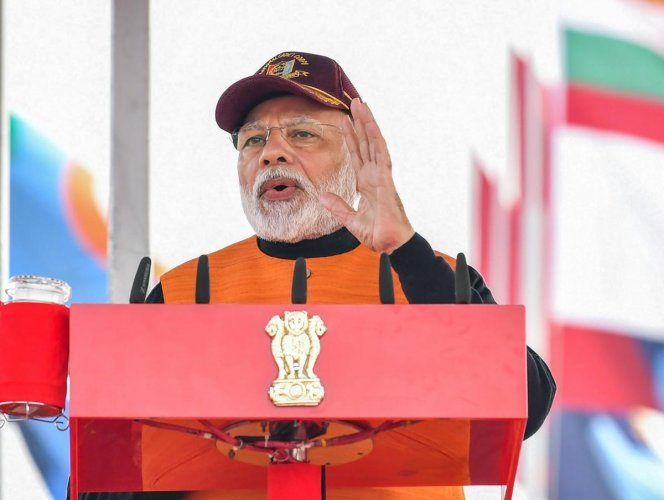 Prime Minister Narendra Modi addresses during the Annual PM's National Cadet Corps (NCC) Rally 2020, at Cariappa Parade Ground, Delhi Cantt, in New Delhi, Tuesday, Jan. 28, 2020. (PTI Photo)