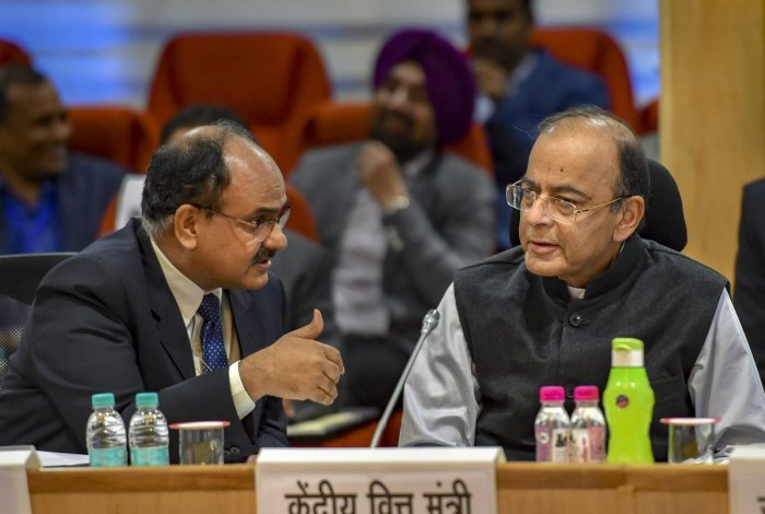 Union Finance Minister Arun Jaitley with Revenue Secretary Ajay Bhushan Pandey during the 33rd GST Council meet, in New Delhi, Sunday, Feb. 24, 2019. PTI