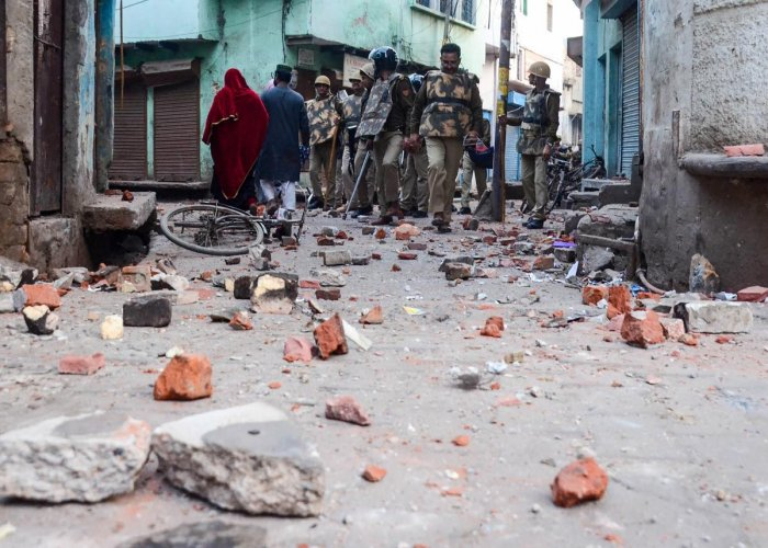 A view of after Clashes broke out between anti-CAA protesters and police at Uparkot jama masjid Aligarh, Sunday, Feb. 23, 2020. (PTI Photo)
