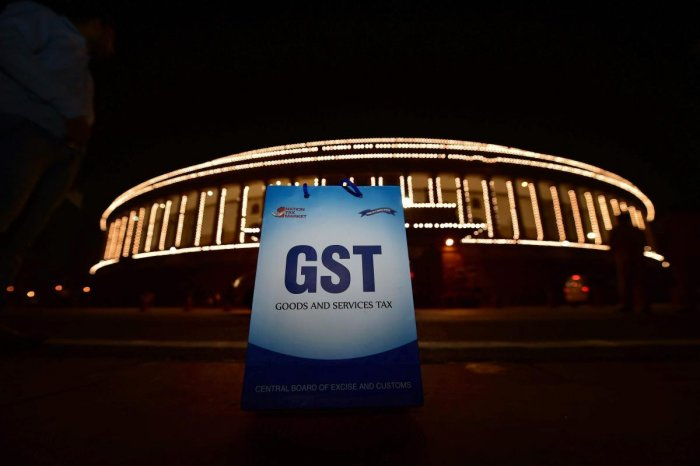 An illuminated Parliament ahead of midinight launch of Goods and Services Tax (GST) in New Delhi on Friday, in 2017. PTI Photo