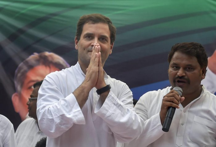 """Congress President Rahul Gandhi on Monday slammed the Goods and Services Tax as """"Gabbar Singh Tax"""" and said that one slab GST would be implemented when the """"Congress party-Government"""" comes to power at the Centre. PTI file photo"""