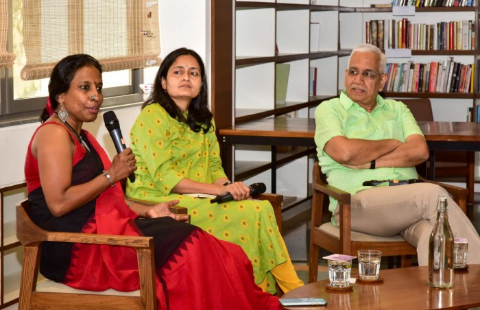 (L-R) Tara Krishnaswamy, Meera K and V Ravichandar discuss Bengaluru governance at the BIC on Sunday. DH PHOTO
