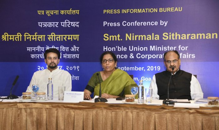 Finance Minister Nirmala Sitharaman addresses a press conference ahead of the 37th meeting of the GST Council, in Panaji. PTI