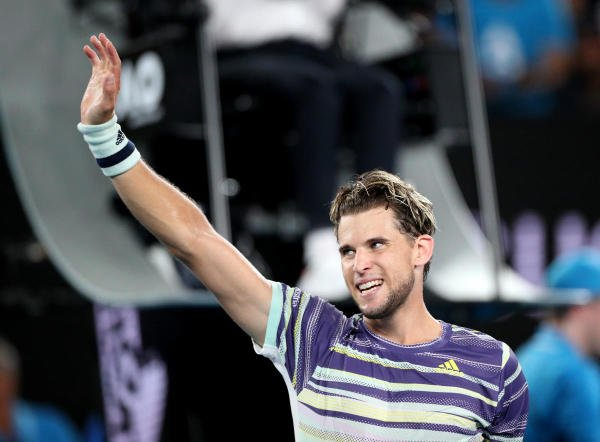 Austria's Dominic Thiem celebrates after winning his quarter final match against Spain's Rafael Nadal. (Reuters Photo)