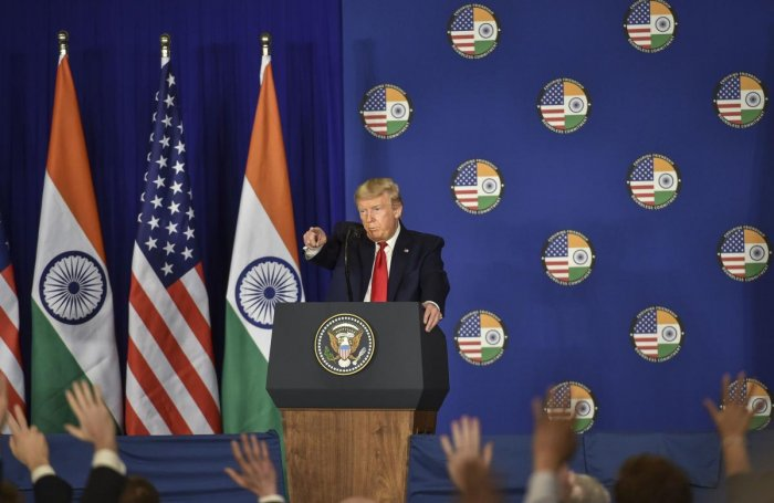 US President Donald Trump speaks during a press briefing in New Delhi, Tuesday, Feb. 25, 2020. (PTI Photo)