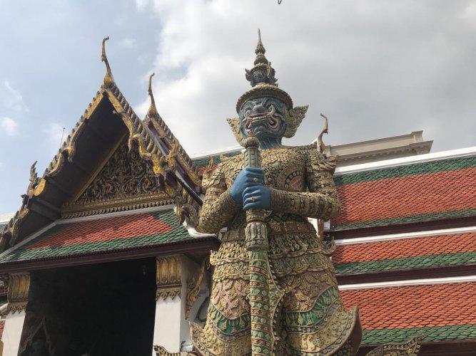 Giant demon guards at the Grand Palace in Bangkok.