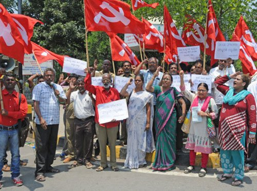 CPM holds protests against 'illegal' tax hike