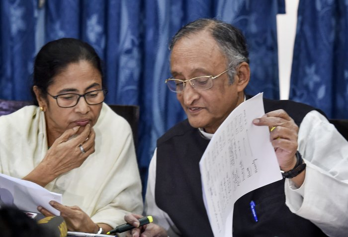West Bengal Chief Minister Mamata Banerjee and Finance Minister Amit Mitra during a media interaction following the presentation of the State Budget 2020-21. (PTI Photo)