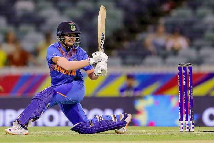 Indian batswoman Shafali Verma plays a shot during the group stage match against Bangladesh in the ICC Women's T20 World Cup, in Perth. (PTI Photo)