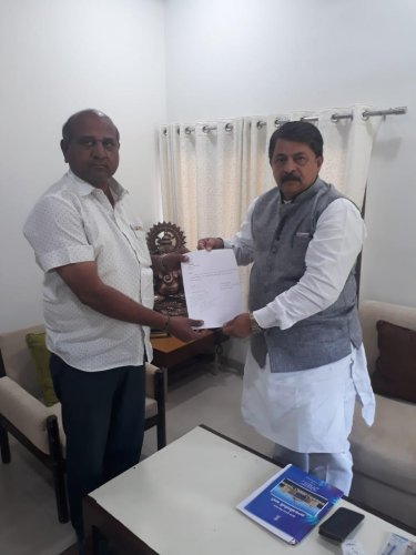 Vallabh Dharaviya quit the party and tendered his resignation from the Assembly to Speaker Rajendra Trivedi. ANI/Twitter photo.