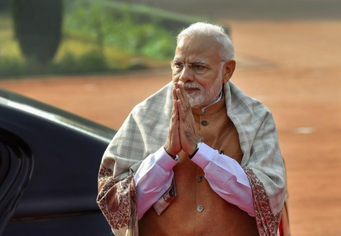 Modi arrived at the Vadodara airport in the morning, where he was received by Gujarat Chief Minister Vijay Rupani and Deputy Chief Minister Nitin Patel, a state government release said. (PTI File Photo)