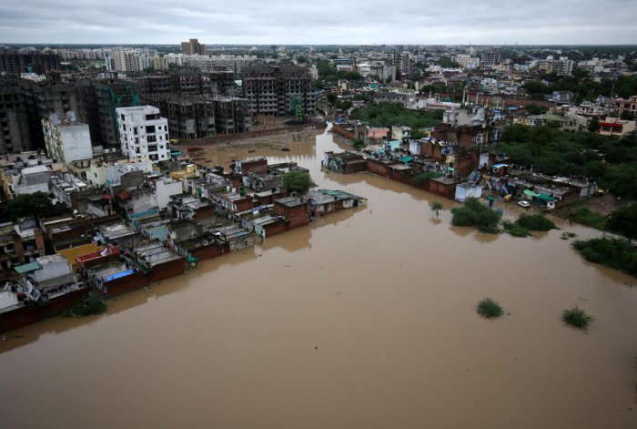 An aerial view shows a flooded residential area after heavy rains in Ahmedabad (Reuters photo)