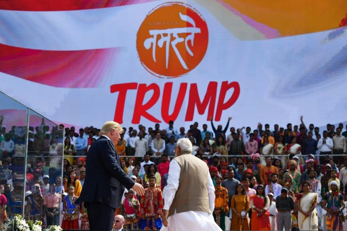 US President Donald Trump (L) and India's Prime Minister Narendra Modi leave after attending 'Namaste Trump' rally at Sardar Patel Stadium in Motera, on the outskirts of Ahmedabad, on February 24, 2020. (Photo by AFP)