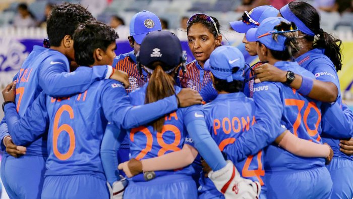 Indian Women's cricket team captain Harmanpreet Kaur speaks to the huddle during the ICC Women's T20 Cricket World Cup match. (PTI Photo)