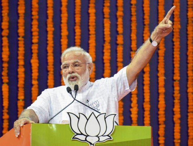 Prime minister Narendra Modi addresses an election campaign rally for the Lok Sabha polls, near Panaji in Goa, Wednesday, April 10, 2019. (PTI Photo)