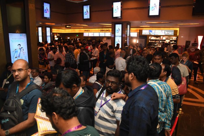 People waiting to watch the Korean movie PARASITE, Directed by Bong Joon Ho, at 12th BIFFES 2020, at Orion Mall in Bengaluru on Friday. Photo/ B H Shivakumar