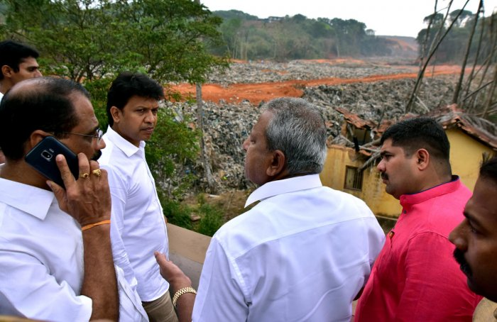 Urban Development Minister B A Basavaraj (Byrathi) took stock of the work to prevent the sliding of mounds of garbage, at Mandara near Pachhanady dumping yard on the city's outskirts on Saturday.