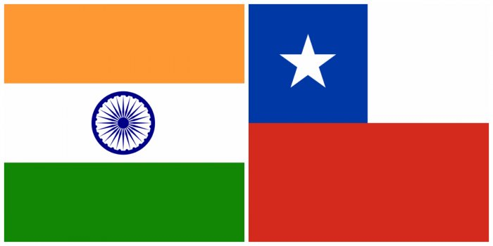 India and Chile flag. (Photos by Wikimedia Commons)