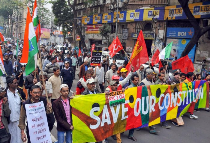 Left Front parties and Congress workers participate in a joint protest rally against CAA, NRC and NPR, in Kolkata