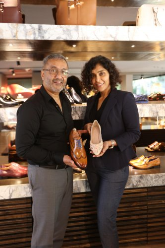 Sunil Suresh, Chairman & Managing Director, Stanley Lifestyles and Shubha Sunil, Director at the launch of premium shoes at their flagship store in Bengaluru