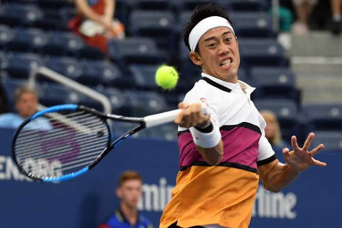 Kei Nishikori of Japan in second round action on day three of the 2019 US Open tennis tournament at USTA Billie Jean King National Tennis Center. (Reuters Photo)