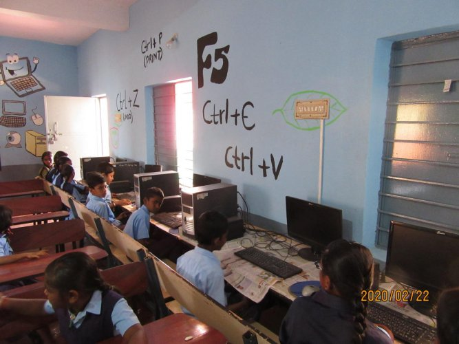 A favoured class is the computer lab at Shivapura Government Higher Primary School.
