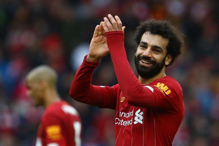 Liverpool's Egyptian midfielder Mohamed Salah reacts at the final whistle during the English Premier League football match between Liverpool and Bournemouth at Anfield in Liverpool. AFP