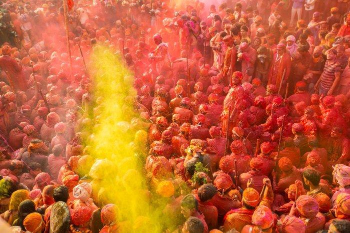 Holi being celebrated in Uttar Pradesh.