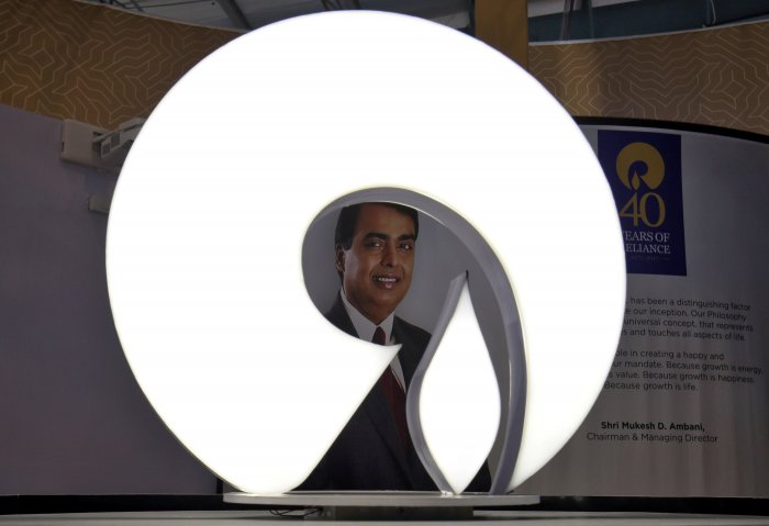 The logo of Reliance Industries is pictured in a stall. (Credit: Reuters)