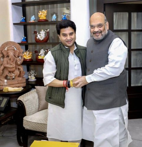 Jyotiraditya Scindia meets Home Minister Amit Shah in New Delhi, Thursday, March 12, 2020, a day after joining the BJP. (PTI Photo)