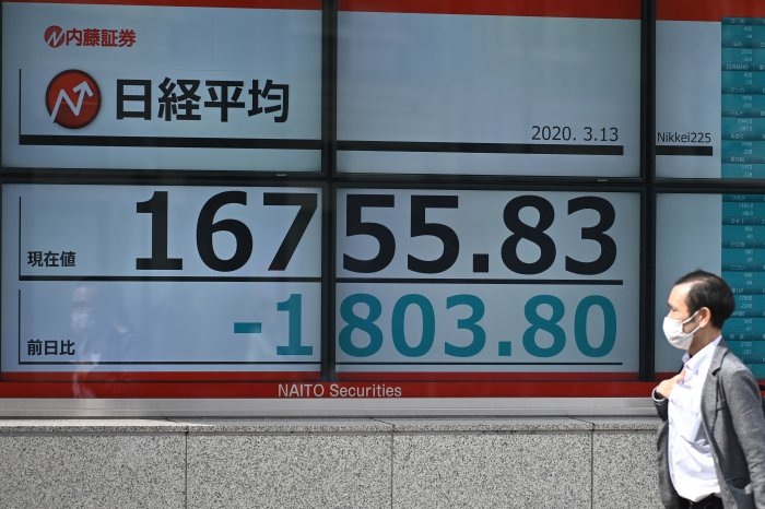 A pedestrian wearing a face mask walks past an electric board showing the Nikkei 225 index on the Tokyo Stock Exchange in Tokyo on March 13, 2020. (Credit: AFP Photo)