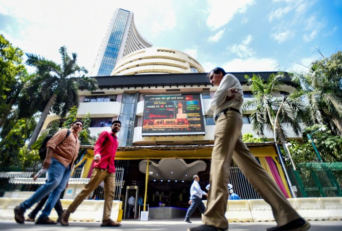In the afternoon session, the Sensex was trading higher by over 1,400 points or 4.28 per cent at 34,178, while the NSE Nifty was up 467 points or 4.89 per cent at 10,057. (Credit: PTI Photo)