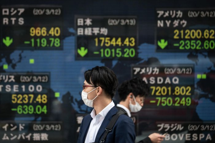 Pedestrians wearing face masks walk past an electric board showing the Nikkei 225 index (C) on the Tokyo Stock Exchange in Tokyo. AFP