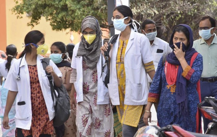 Hyderabad: Medical staff wears masks as prevention against coronavirus, at Gandhi Hospital in Hyderabad, Wednesday, March 4, 2020. (PTI Photo)