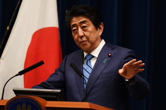 Japanese Prime Minister Shinzo Abe talks to the media during a press conference in Tokyo. AFP