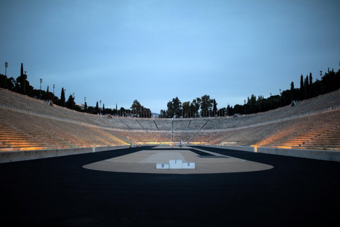 The Panathenaic stadium, where the handover ceremony of the Olympic flame for the Tokyo 2020 Summer Olympics will take place, is closed to visitors as a precaution against the spread of the coronavirus disease (COVID-19), in Athens. Reuters