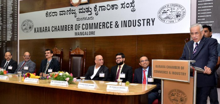 Supreme Court Judge Justice S Abdul Nazeer speaks during the inauguration of KCCI ADR(Kanara Chamber of Commerce and Industry Alternative Dispute Resolution) in KCCI Hall in Mangaluru on Saturday.