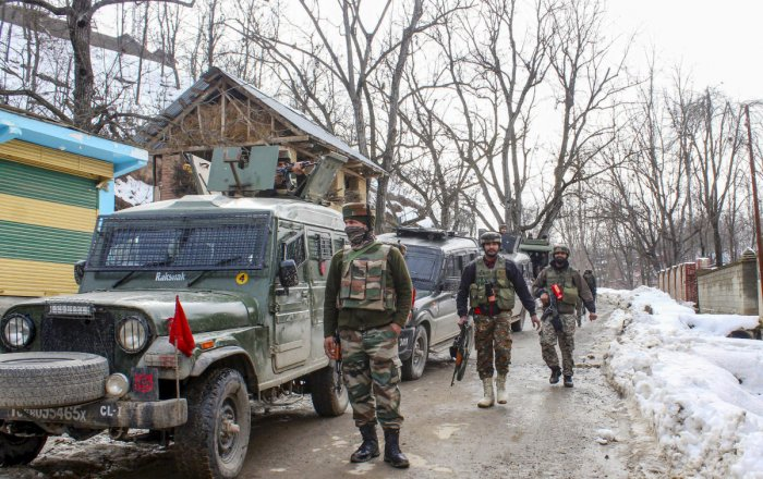Army soldiers during an encounter in which top three miltant commanders were killed, at Wani in Shopian district of south Kashmir, Monday, Jan. 20, 2020. (PTI Photo)