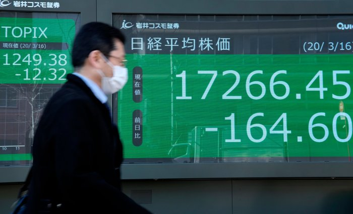 A pedestrian passes a quotation board displaying the share price numbers of the Tokyo Stock Exchange in Tokyo. (AFP Photo)