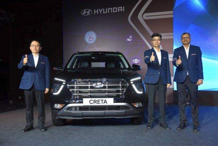 Hyundai officials with the 2020 Creta. Credit: DH Photo