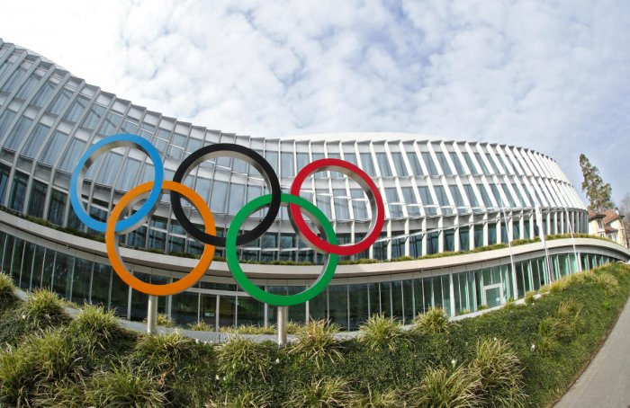 The Olympic rings are pictured in front of the International Olympic Committee (IOC) in Lausanne, Switzerland, March 17, 2020. Reuters File Photo