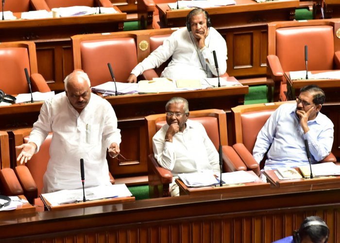 Former Speaker K R Ramesh Kumar speaks at the Assembly session in Vidhana Soudha, Bengaluru, on Tuesday.